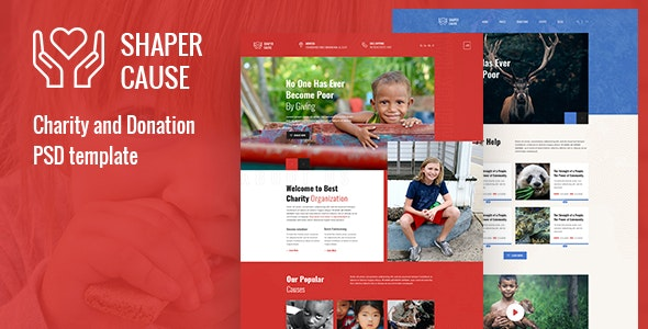 ShapCause - Charity and Donation PSD Template - Charity Nonprofit
