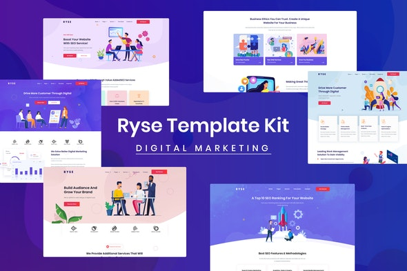 Ryse - SEO & Digital Marketing Elementor Template Kit - Technology & Apps Elementor