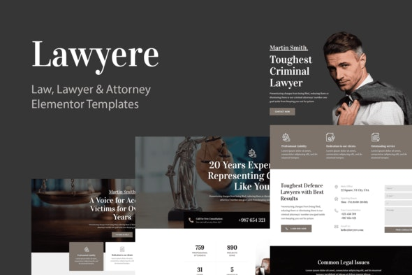 Lawyere - Legal & Attorney Template Kit - Finance & Law Elementor