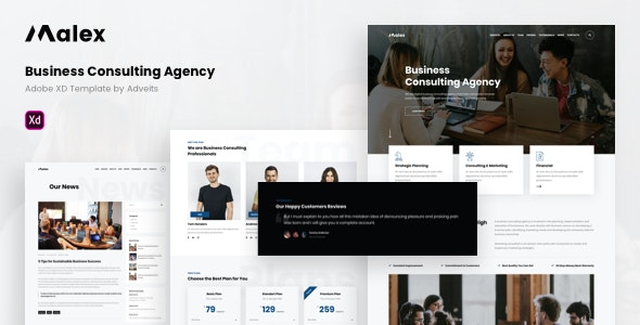 Malex - Business Consulting Agency Adobe XD Template - Business Corporate
