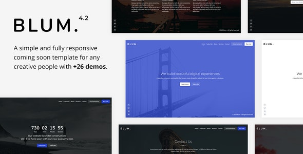 Blum - Responsive Coming Soon Template - Under Construction Specialty Pages