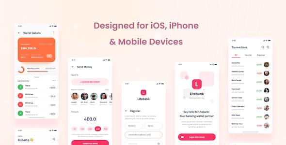 Litebank - Banking Wallet iOS App Design UI PSD Template
