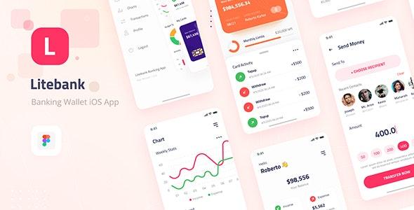 Litebank - Banking Wallet iOS App Design UI Figma Template - Business Corporate