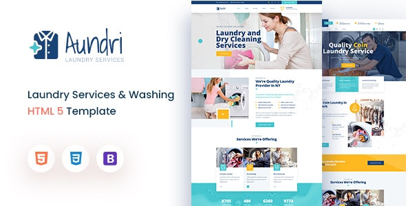 Aundri - Dry Cleaning Services HTML Template - Business Corporate