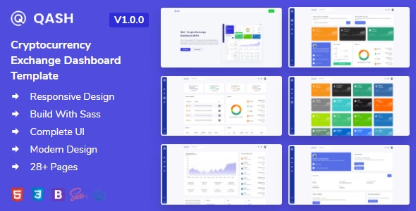 Qash - Cryptocurrency Exchange Dashboard HTML Template + Light and Dark - Admin Templates Site Templates