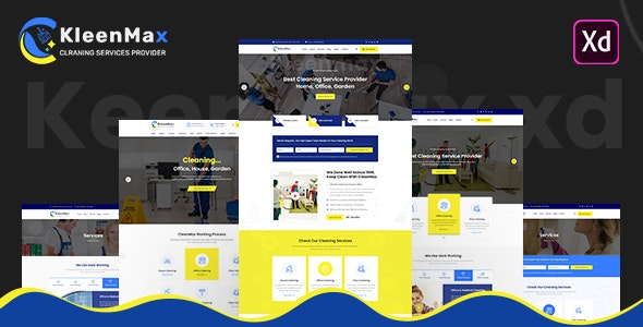 Kleenmax - Cleaning Services XD Template - Adobe XD UI Templates