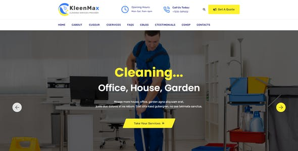 Kleenmax - Cleaning Services XD Template
