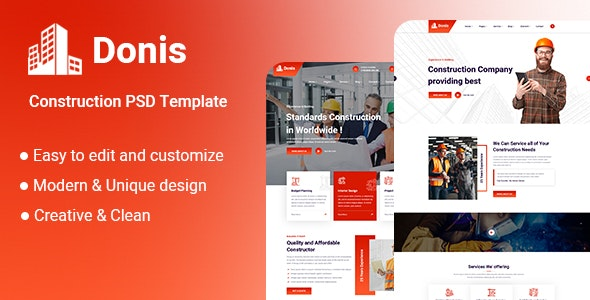 Donis-Construction PSD Template - UI Templates