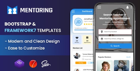 Mentoring - Courses Booking Mobile App Template (Framework7 + Bootstrap + PWA) - Mobile Site Templates