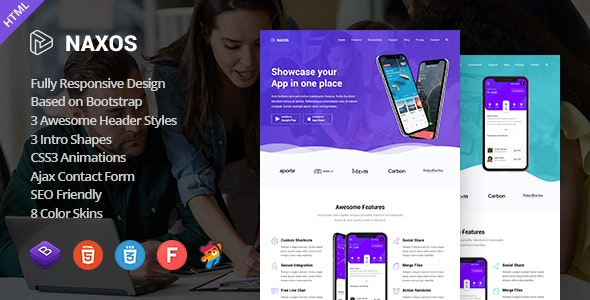Naxos - App Landing Page Template - Software Technology