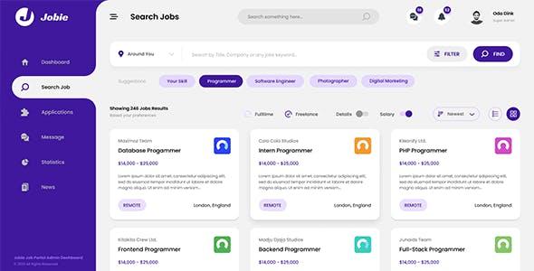 Jobie - Job Board Admin Dashboard Template