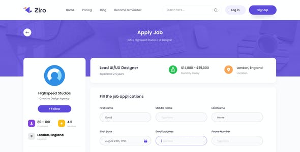 Ziro - Freelancer Directory Website Design Template PSD