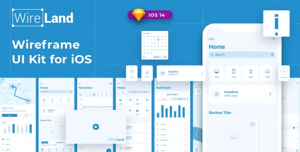 Wireland iOS Wireframe Kit - Complete iOS UI Kit Collection for Sketch