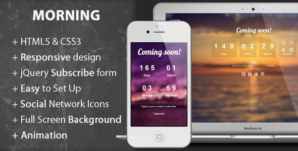 Morning - Coming Soon Page - Under Construction Specialty Pages