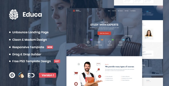Educa - Distance Education & eLearning Unbounce Landing Page Template - Unbounce Landing Pages Marketing