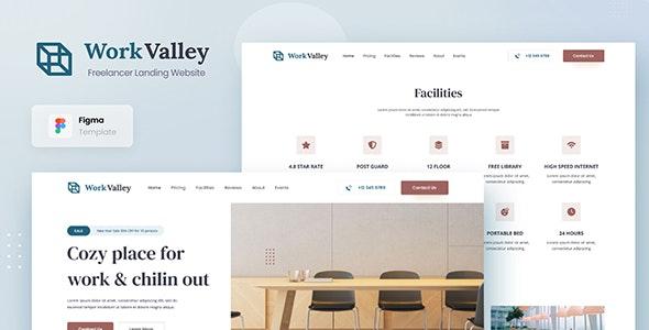 Work Valley - Coworking Space Website UI Design Template Figma - Business Corporate