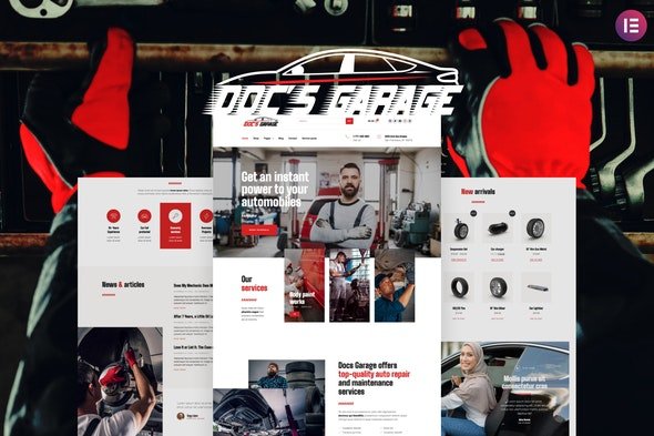Doc's Garage – Car Repair Services Elementor Template kit - Automotive & Transportation Elementor