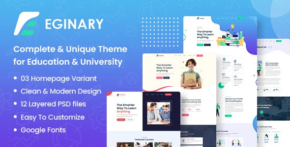 Eginary - Online Education PSD Template - Corporate Photoshop