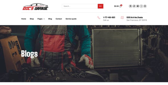 Doc's Garage – Car Repair Services Elementor Template kit