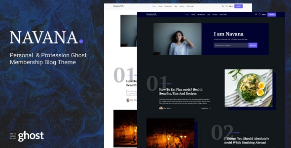 Navana - Personal and Professional Membership Ghost Blog Theme - Ghost Themes Blogging