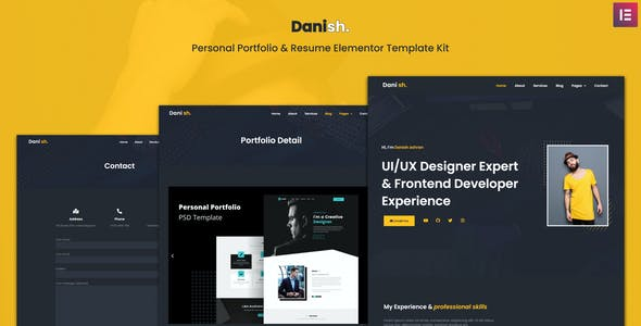 Danish - Personal Portfolio & Resume Elementor Template Kit