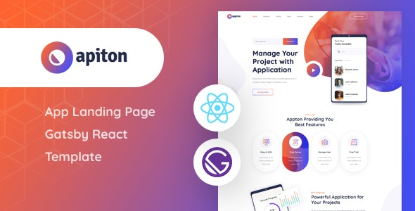 Apiton - Gatsby React App Landing Page Template - Technology Site Templates