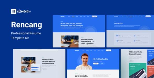 Rencang - CV & Portfolio Elementor Template Kit