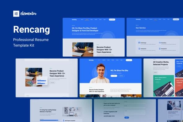 Rencang - CV & Portfolio Elementor Template Kit - Personal & CV Elementor