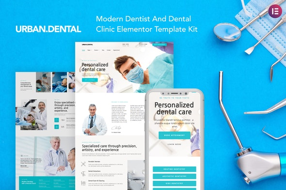 UrbanDental – Dentist & Dental Clinic Template Kit - Health & Medical Elementor