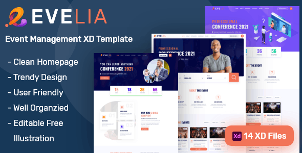 Evelia- Event & Conference Management XD Template - Events Entertainment