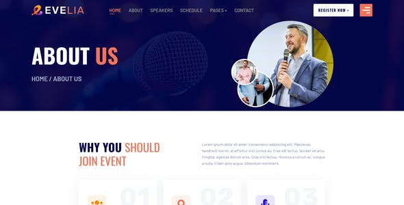 Evelia- Event & Conference Management XD Template