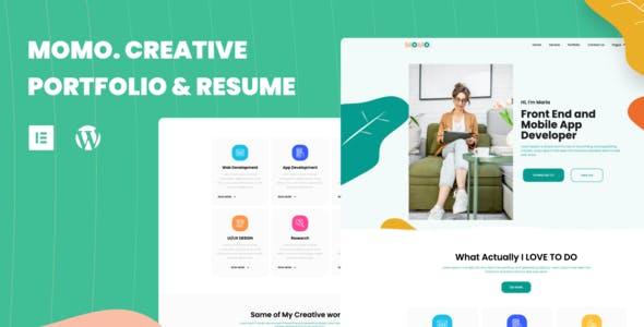 Momo Creative Portfolio & Resume Elementor Template Kit