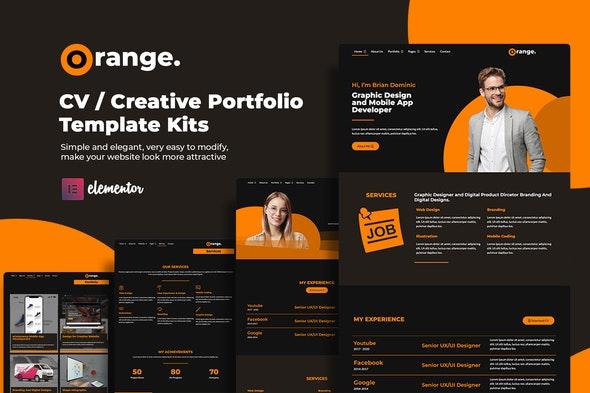 Orange CV/Creative Portfolio Elementor Template Kits - Personal & CV Elementor