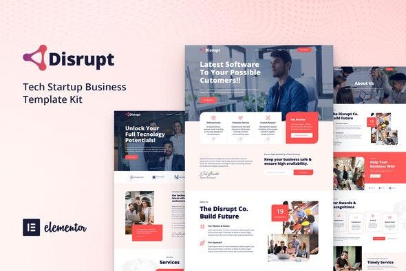 Disrupt - Tech Startup Business Elementor Template Kit - Technology & Apps Elementor