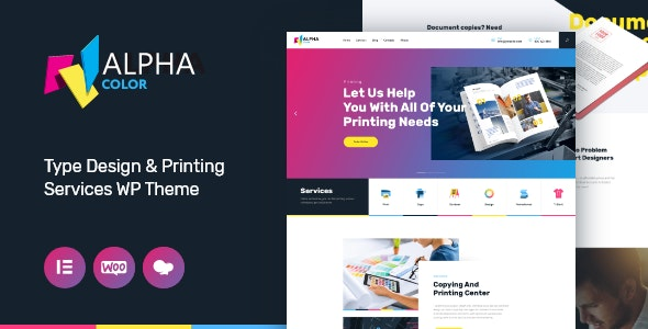 AlphaColor | Type Design & Printing Services WordPress Theme + Elementor - Retail WordPress