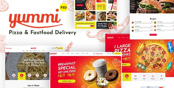 Yummy - Fast Food Delivery Restaurant PSD Template - Restaurants & Cafes Entertainment