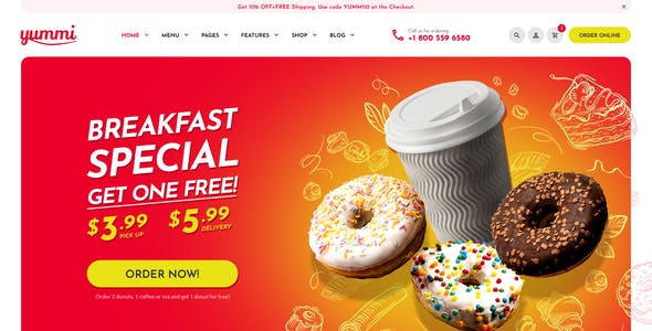 Yummy - Fast Food Delivery Restaurant PSD Template