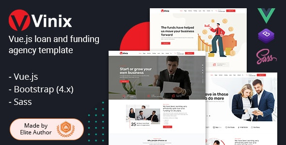 Vinix - Vue.js Loan & Funding Company Template - Business Corporate