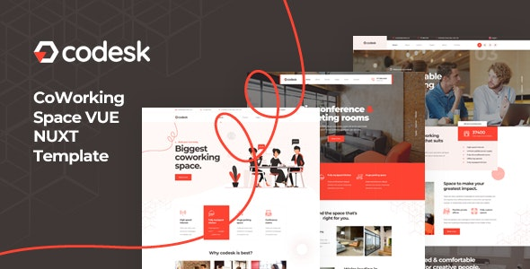 Codesk - Vue Nuxt Coworking Space Template - Business Corporate