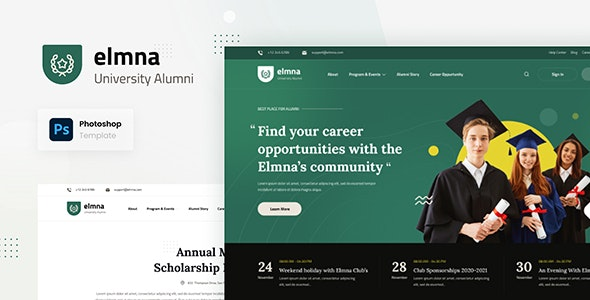 Elmna - University Alumni Website Design UI Template PSD - Photoshop UI Templates