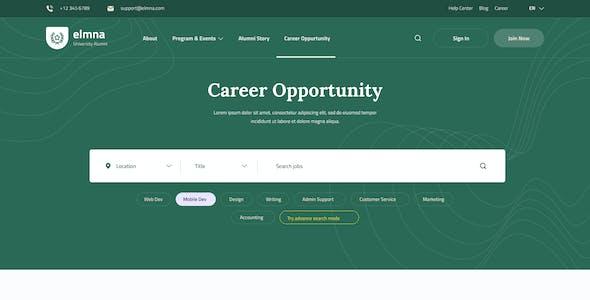 Elmna - University Alumni Website Design UI Template PSD