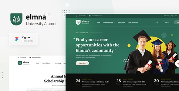 Elmna - University Alumni Website Design UI Template Figma - Figma UI Templates