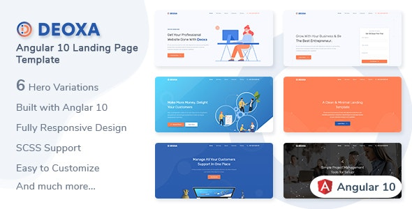 Deoxa - Angular 10 Landing Page Template - Corporate Site Templates