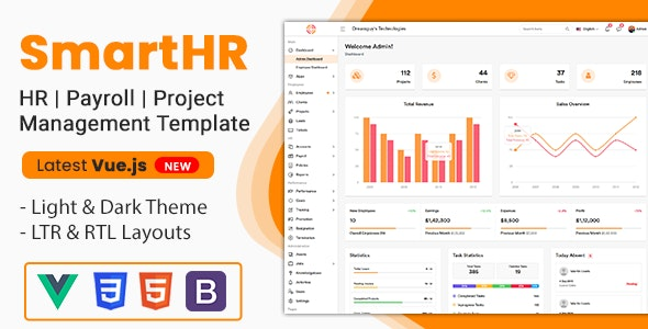 SmartHR - HR, Payroll, Project & Employee Management Admin Template - Vuejs - Admin Templates Site Templates