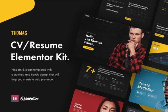Thomas - CV/Portfolio Elementor Template Kit - Personal & CV Elementor