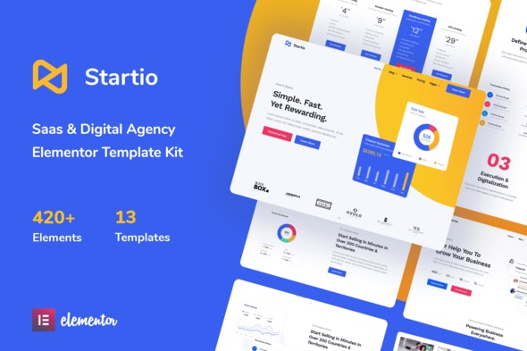Startio - Saas & Digital Agency Elementor Template Kit - Technology & Apps Elementor