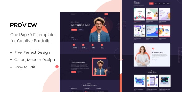 Proview - One Page Portfolio XD Template - Technology Adobe XD