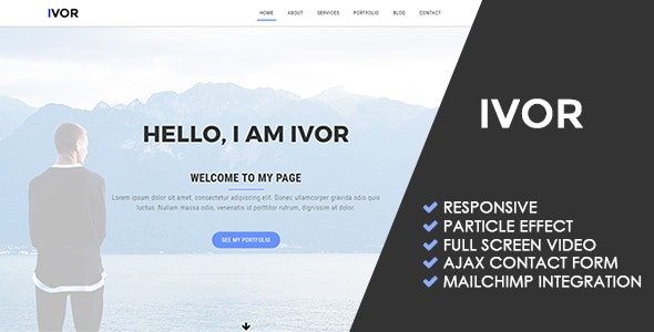 Ivor | Personal Portfolio Template - Personal Site Templates
