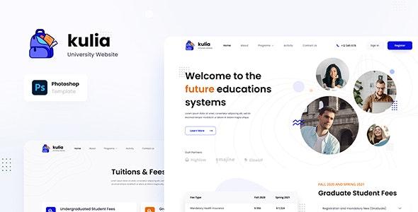 Kulia - Modern University Website UI Template PSD - Photoshop UI Templates
