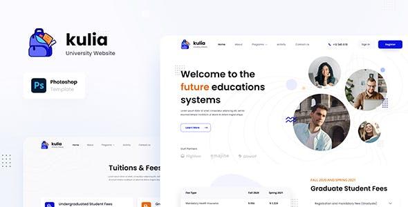 Kulia - Modern University Website UI Template PSD